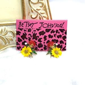 Betsey Johnson Enamel Flower Stud Earrings